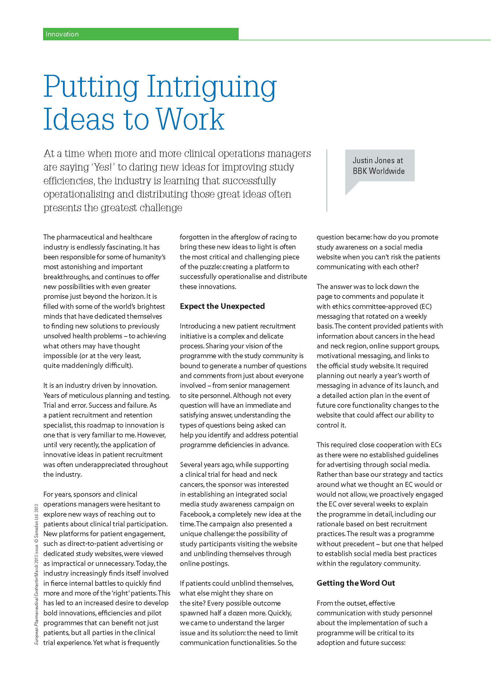 White Papers / Articles - Putting Intriguing Ideas to Work